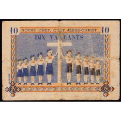 Billet de 10 vaillants - 4ème série /B - 1938-1943 - Etat : B+