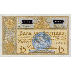Ecosse - Pick 106c - 5 pounds sterling - 02/02/1967 - Etat : pr.NEUF
