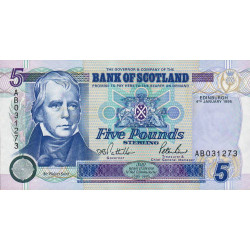 Ecosse - Pick 119a - 5 pounds sterling - 04/01/1995 - Etat : NEUF