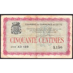 Cette (Sète) - Pirot 41-4 - 50 centimes - Série AD 129 - 11/08/1915 - Etat : TB-
