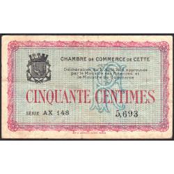Cette (Sète) - Pirot 41-4 - 50 centimes - Série AX 148 - 11/08/1915 - Etat : TB