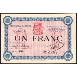Cette (Sète) - Pirot 41-14 - 1 franc - Série 184 - 11/08/1915 - Etat : SPL