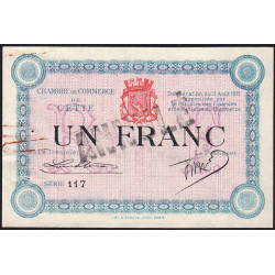 Cette (Sète) - Pirot 41-8a - 1 franc - Annulé - 1915 - Etat : SUP-