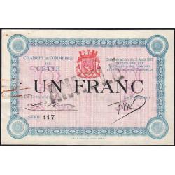 Cette (Sète) - Pirot 41-8a - 1 franc - Série 117 - 11/08/1915 - Annulé - Etat : SUP-