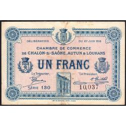 Chalon-sur-Saône / Autun / Louhans - Pirot 42-4 - 1 franc - Série 130 - 27/06/1916 - Etat : TB+