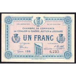 Chalon-sur-Saône / Autun / Louhans - Pirot 42-4a - 1 franc - 1916 - Etat : TTB