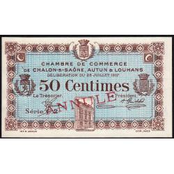 Chalon-sur-Saône / Autun / Louhans - Pirot 42-13 - 50 centimes - Annulé - 1917 - Etat : SUP+