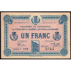 Chalon-sur-Saône / Autun / Louhans - Pirot 42-14 - 1 franc - 1917 - Etat : TTB
