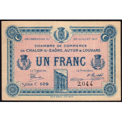 Chalon-sur-Saône / Autun / Louhans - Pirot 42-14 - 1 franc - Série C 109 - 25/07/1917 - Etat : TTB
