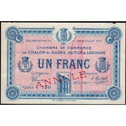 Chalon-sur-Saône / Autun / Louhans - Pirot 42-15 - 1 francs - Annulé - 1917 - Etat : SUP+