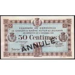 Chalon-sur-Saône / Autun / Louhans - Pirot 42-17 - 50 centimes - Série D 272 - 05/11/1918 - Annulé - Etat : SUP+