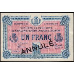 Chalon-sur-Saône / Autun / Louhans - Pirot 42-19 - 1 franc - Série D 186 - 05/11/1918 - Annulé - Etat : SUP