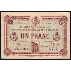 Chalon-sur-Saône / Autun / Louhans - Pirot 42-22 - 1 franc - Série E 227 - 22/07/1919 - Etat : TB-