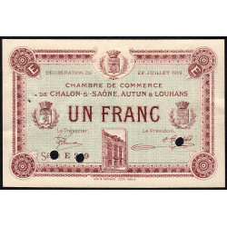 Chalon-sur-Saône / Autun / Louhans - Pirot 42-23 - 1 franc - Spécimen - 1919 - Etat : SUP