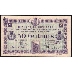 Chalon-sur-Saône / Autun / Louhans - Pirot 42-24 - 50 centimes - 1920 - Etat : TTB