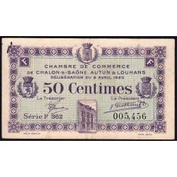 Chalon-sur-Saône / Autun / Louhans - Pirot 42-24 - 50 centimes - Série F 362 - 08/04/1920 - Etat : TTB