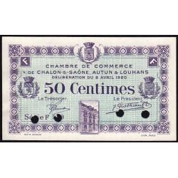 Chalon-sur-Saône / Autun / Louhans - Pirot 42-25 - 50 centimes - Série F 3.9 - 08/04/1920 - Spécimen - Etat : SUP+