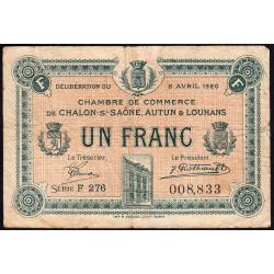 Chalon-sur-Saône / Autun / Louhans - Pirot 42-26 - 1 franc - Série F 276 - 08/04/1920 - Etat : TB