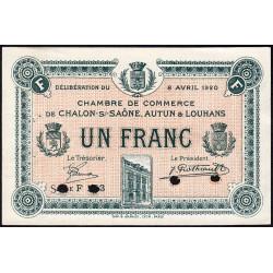 Chalon-sur-Saône / Autun / Louhans - Pirot 42-27 - 1 franc - Série F 2.3 - 08/04/1920 - Spécimen - Etat : SUP