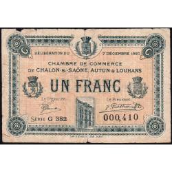 Chalon-sur-Saône / Autun / Louhans - Pirot 42-30 - 1 franc - Série G 382 - 07/12/1920 - Etat : B