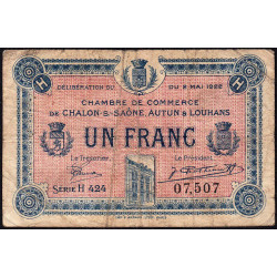 Chalon-sur-Saône / Autun / Louhans - Pirot 42-35 - 1 franc - 1922 - Etat : B