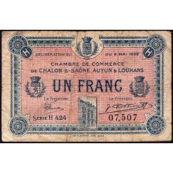 Chalon-sur-Saône / Autun / Louhans - Pirot 42-35 - 1 franc - Série H 424 - 02/05/1922 - Etat : B