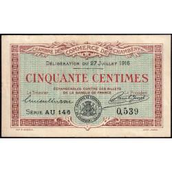 Chambéry - Pirot 44-8 - 50 centimes - Série AU 146 - 27/07/1916 - Etat : TTB