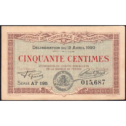 Chambéry - Pirot 44-12 - 50 centimes - Série AT 195 - 12/04/1920 - Etat : SUP