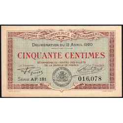 Chambéry - Pirot 44-12 - 50 centimes - Série AF 181 - 12/04/1920 - Etat : SUP+