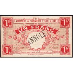 Chartres (Eure-et-Loir) - Pirot 45-4 - 1 franc - Annulé - 1915 - Etat : SUP