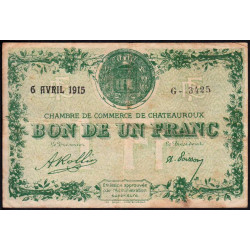 Chateauroux - Pirot 46-2 - 1 franc - Série G - 06/04/1915 - Etat : TB