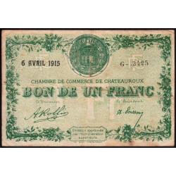 Chateauroux - Pirot 46-2-G - 1 franc - 1915 - Etat : TB
