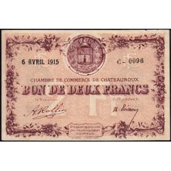 Chateauroux - Pirot 46-4-C - 2 francs - 1915 - Etat : SUP+ à SPL