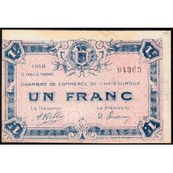 Chateauroux - Pirot 46-19 - 1 franc - 1918 - Etat : SPL