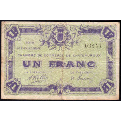 Chateauroux - Pirot 46-21 - 1 franc - 1919 - Etat : TB-
