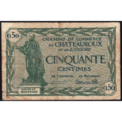 Chateauroux (Indre) - Pirot 46-28-A - 50 centimes - 1922 - Etat : TB-