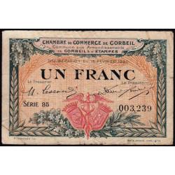 Corbeil - Pirot 50-3 - 1 franc - Série 35 - 16/02/1920 - Etat : TB-