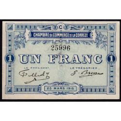 Corrèze / Tulle / Brive - Pirot 51-6-C - 1 franc - 1915 - Etat : SUP+
