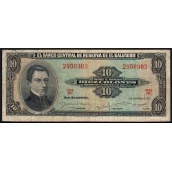 El Salvador - Pick 96 - 10 colones - Série HC - 1957 - Etat : TB-