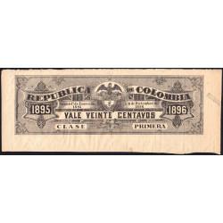 Colombie - Billet train 1895 - 20 centavos - Etat : TTB