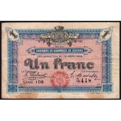 Cognac - Pirot 49-3 - 1 franc - Série 105 - 19/08/1916 - Etat : TB-