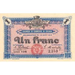 Cognac - Pirot 49-3 - 1 franc - Série 106 - 19/08/1916 - Etat : SPL