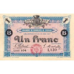 Cognac - Pirot 49-7 - 1 franc - Série 104 - 24/05/1917 - Etat : SUP+