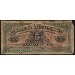 El Salvador - Pick S 162b - 5 pesos - Série A - 16/01/1908 - Etat : AB