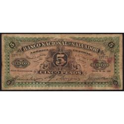 El Salvador - Pick S 162c - 5 pesos - Série B - janvier 1909 - Etat : B+