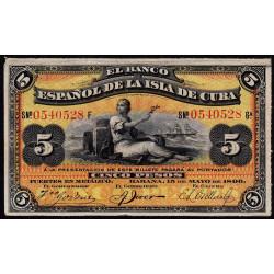 Cuba - Pick 48b - 5 pesos - 15/05/1896 - Etat : SUP+