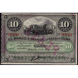 Cuba - Pick 49d - 10 pesos - 1896 - Etat : SUP