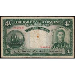 Bahamas - Pick 9b - 4 shillings - 1941 - Etat : B+ à TB-