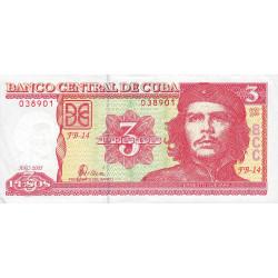 Cuba - Pick 127b - 3 pesos - 2005 - Etat : SUP