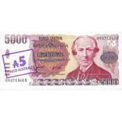 Argentine - Pick 321 - 5 australes sur 5'000 pesos argentinos - Série B - 1985 - Etat : NEUF